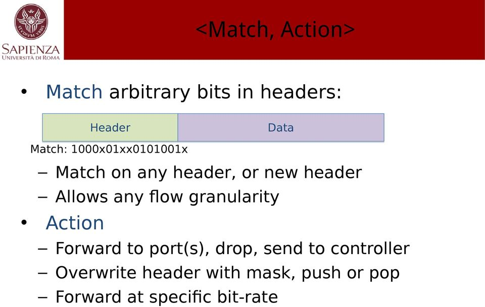 flow granularity Action Forward to port(s), drop, send to