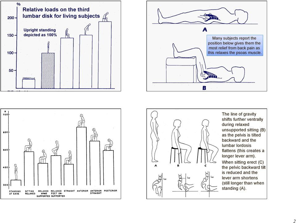 The line of gravity shifts further ventrally during relaxed unsupported sitting (B) as the pelvis is tilted backward and the