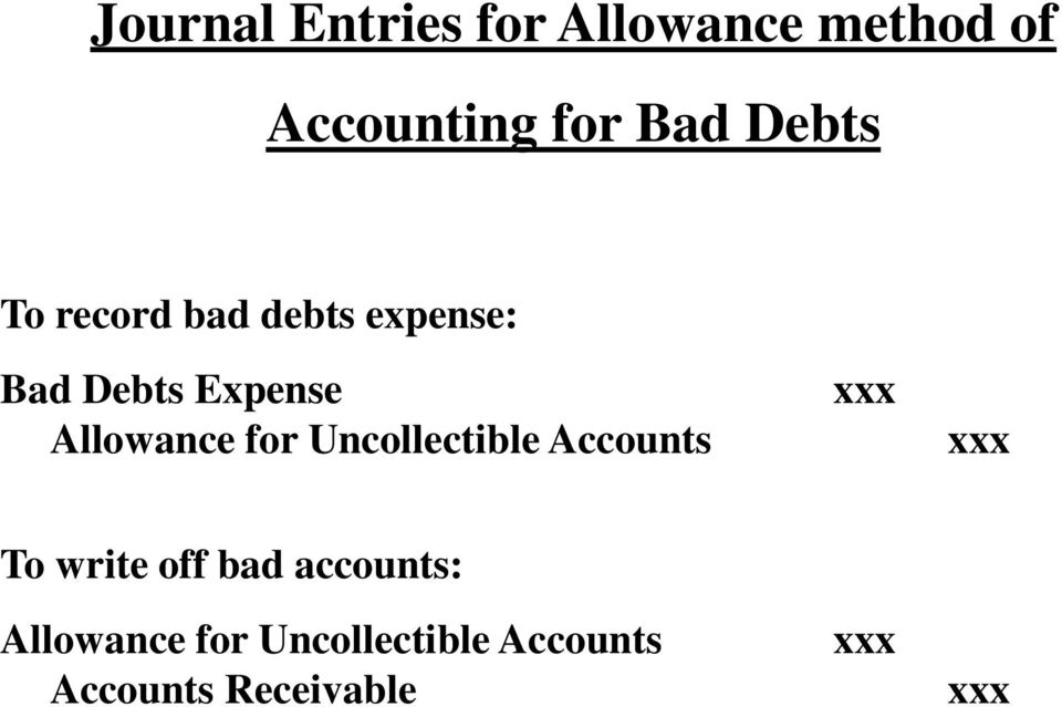 Allowance for Uncollectible Accounts xxx xxx To write off bad