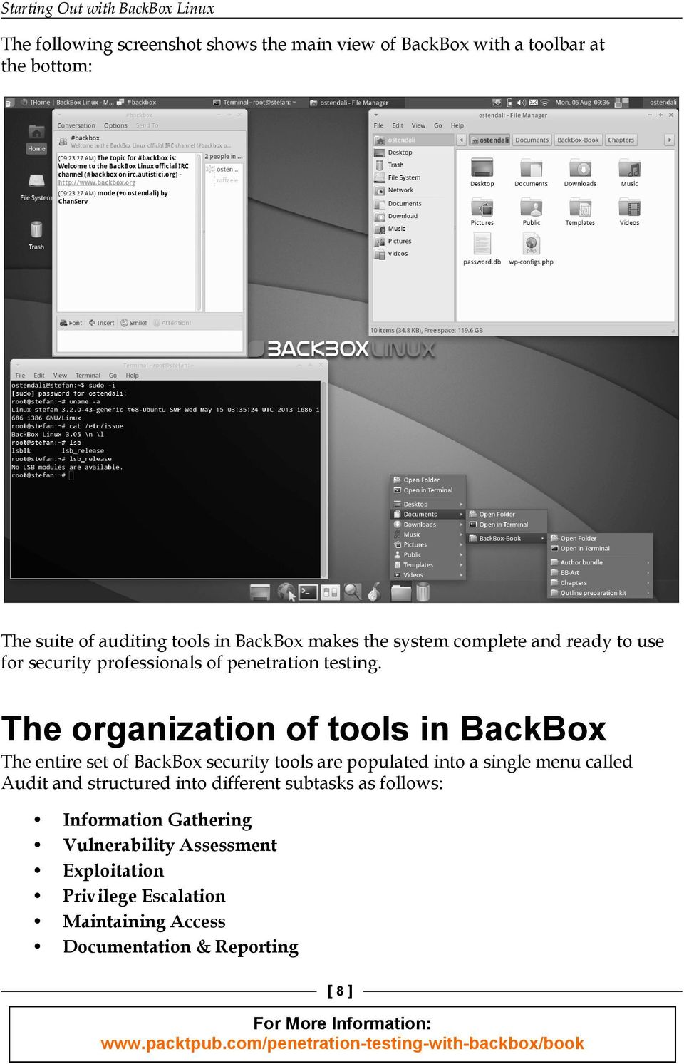 The organization of tools in BackBox The entire set of BackBox security tools are populated into a single menu called Audit and structured