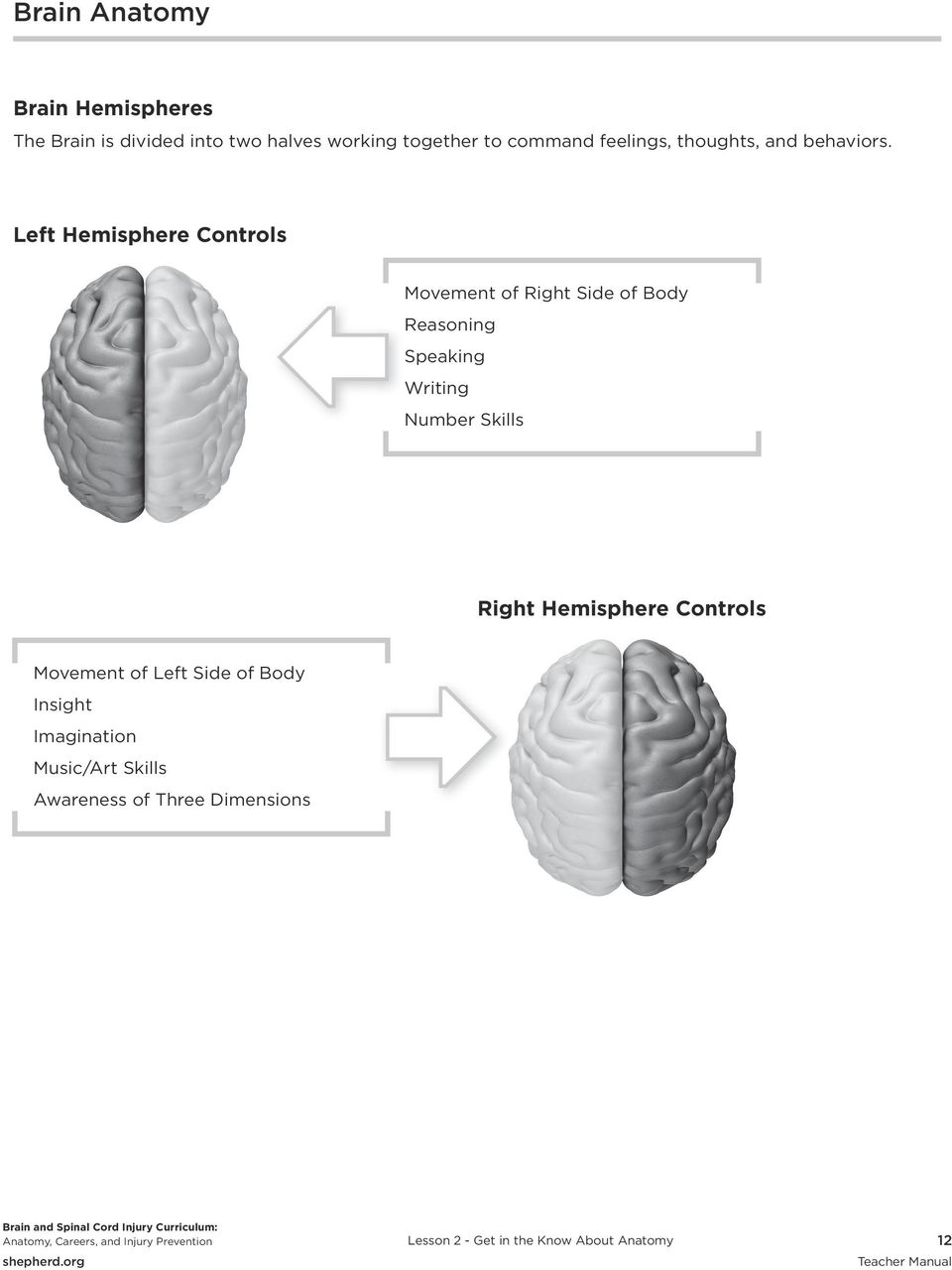 Left Hemisphere Controls Movement of Right Side of Body Reasoning Speaking Writing Number Skills