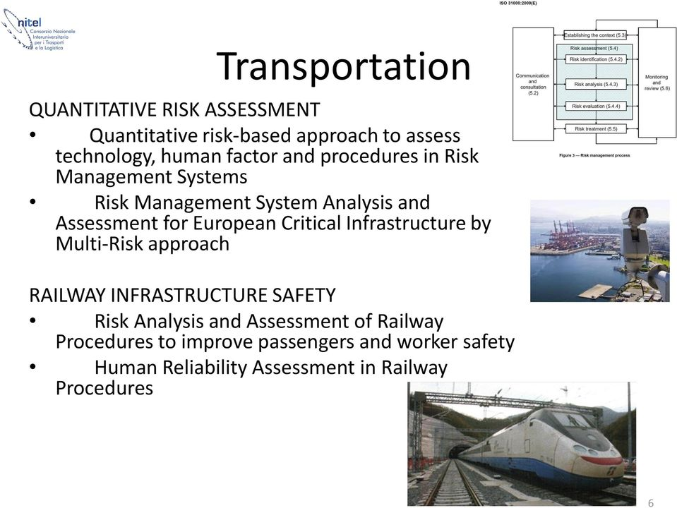 Critical Infrastructure by Multi-Risk approach RAILWAY INFRASTRUCTURE SAFETY Risk Analysis and Assessment of