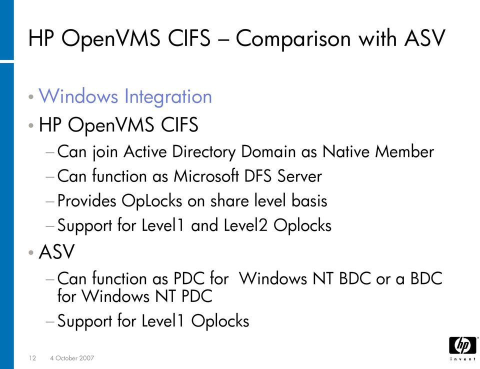 on share level basis Support for Level1 and Level2 Oplocks ASV Can function as PDC for