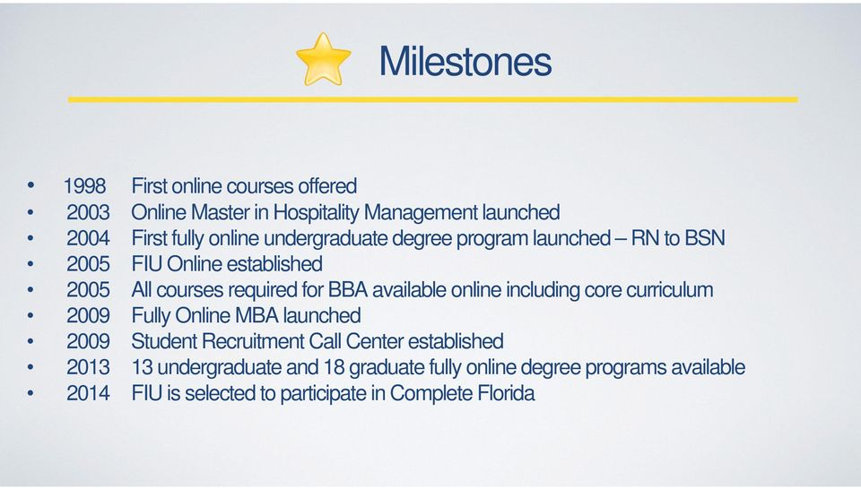 available online including core curriculum 2009 Fully Online MBA launched 2009 Student Recruitment Call Center