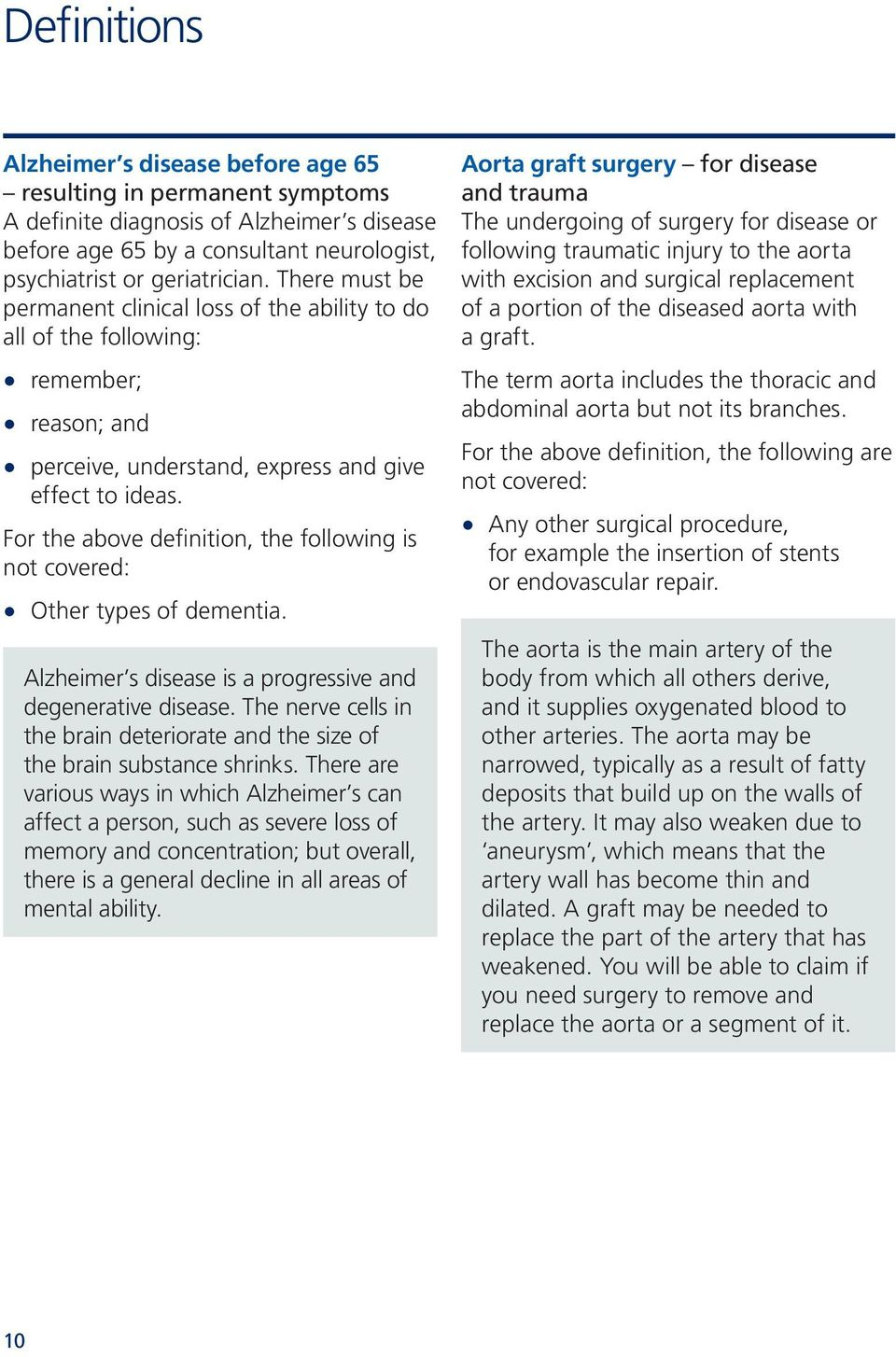 For the above definition, the following is not covered: Other types of dementia. Alzheimer s disease is a progressive and degenerative disease.