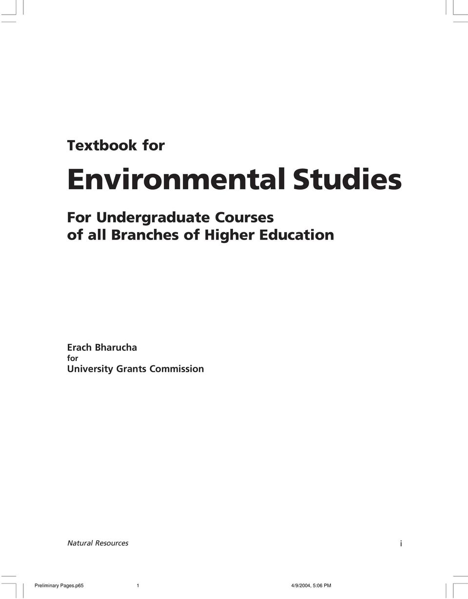Textbook of environmental studies by erach bharucha