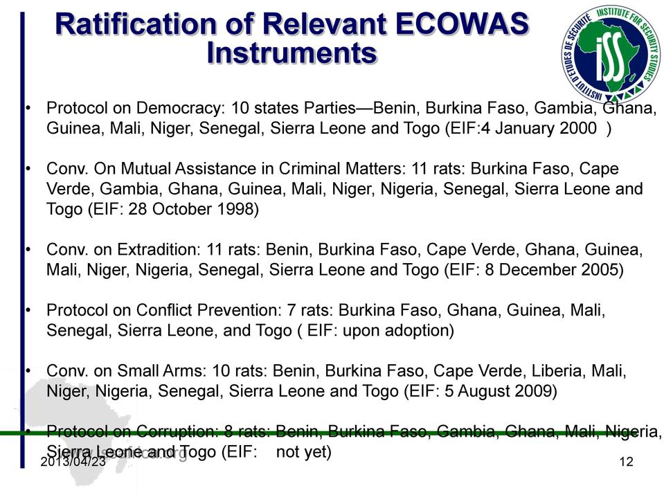 on Extradition: 11 rats: Benin, Burkina Faso, Cape Verde, Ghana, Guinea, Mali, Niger, Nigeria, Senegal, Sierra Leone and Togo (EIF: 8 December 2005) Protocol on Conflict Prevention: 7 rats: Burkina
