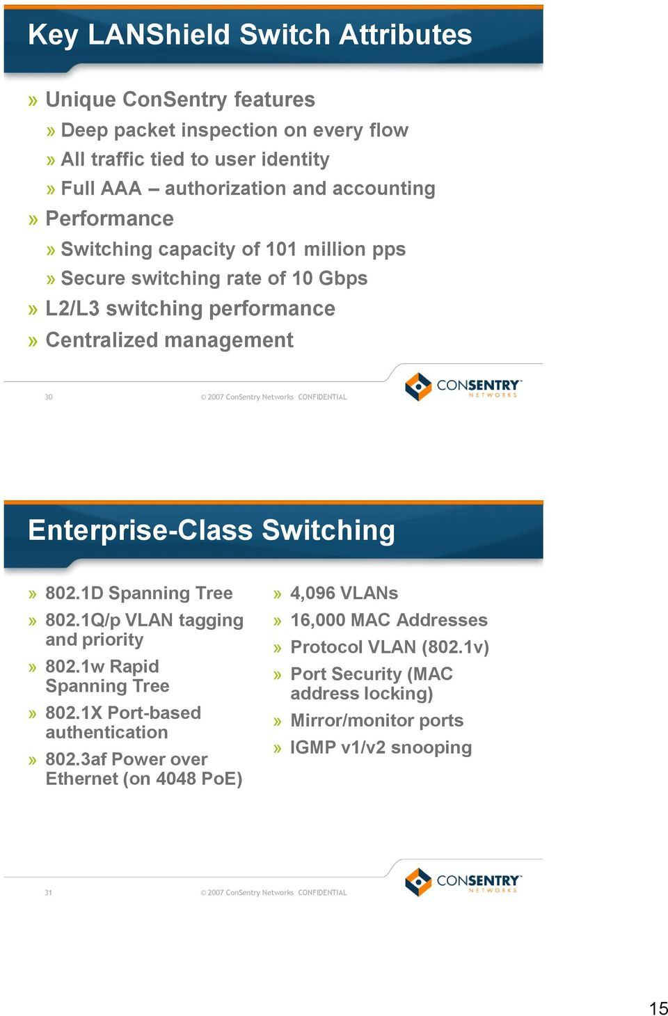 Enterprise-Class Switching» 802.1D Spanning Tree» 802.1Q/p VLAN tagging and priority» 802.1w Rapid Spanning Tree» 802.1X Port-based authentication» 802.