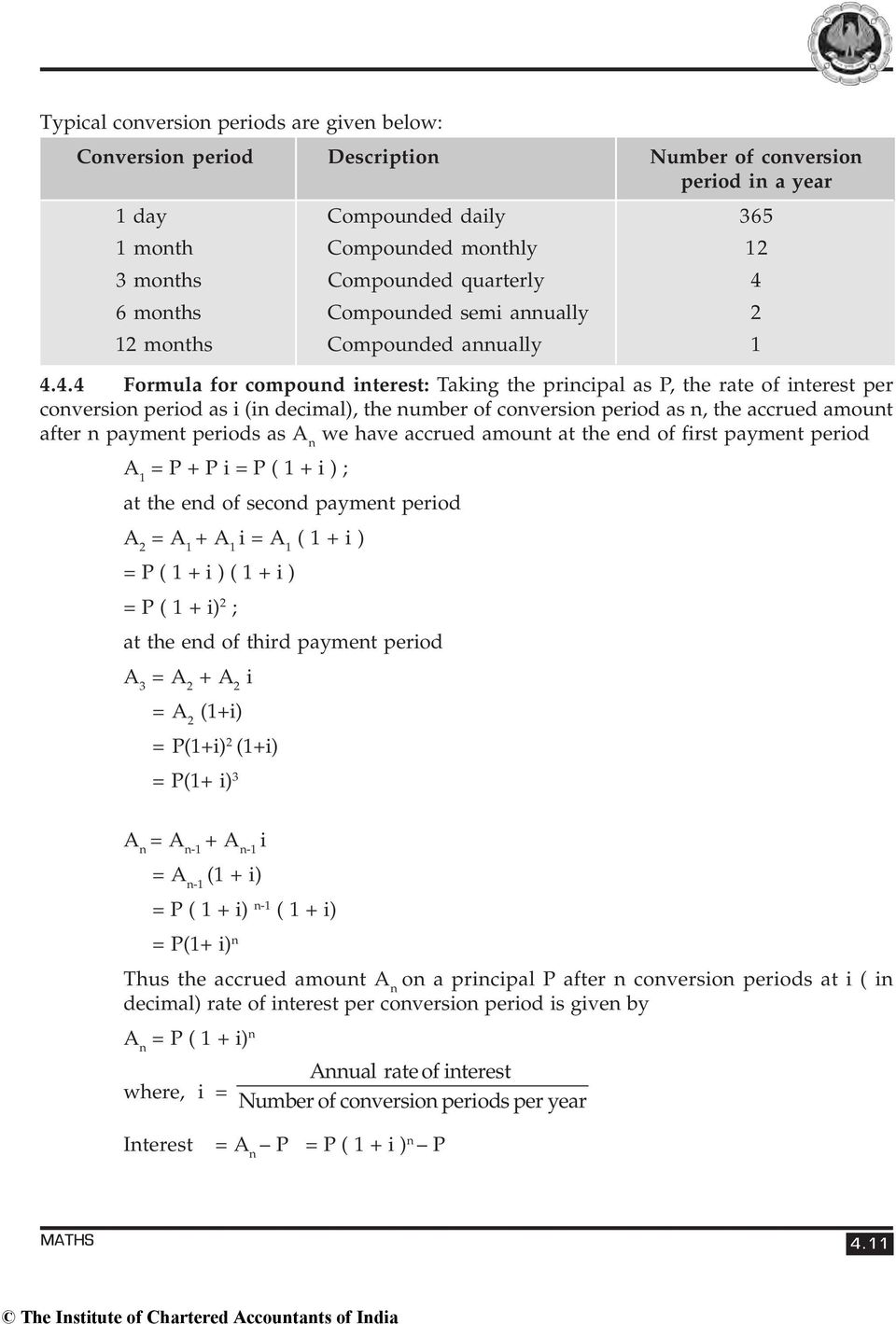 number of conversion period as n, the accrued amount after n payment periods as A n we have accrued amount at the end of first payment period A 1 = P + P i = P ( 1 + i ) ; at the end of second