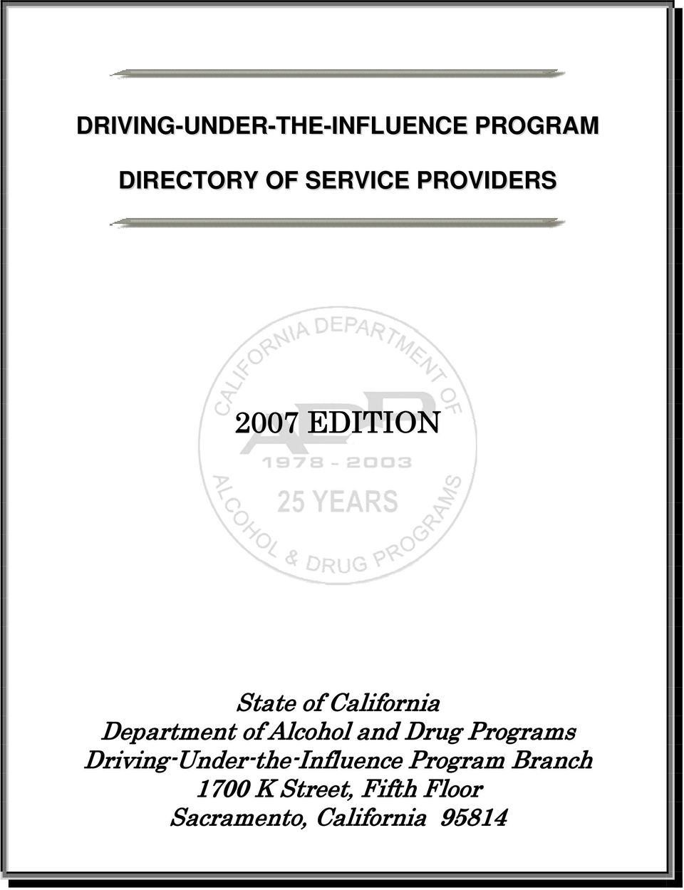 Driving-Under-the-Influence Program Branch