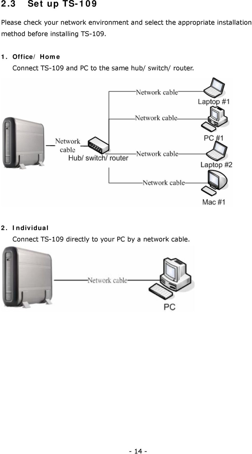Office/ Home Connect TS-109 and PC to the same hub/ switch/ router.