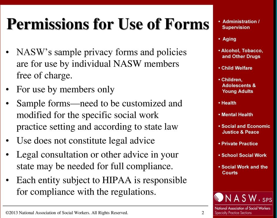 Introducing the nasw updated sample hipaa privacy forms and policies