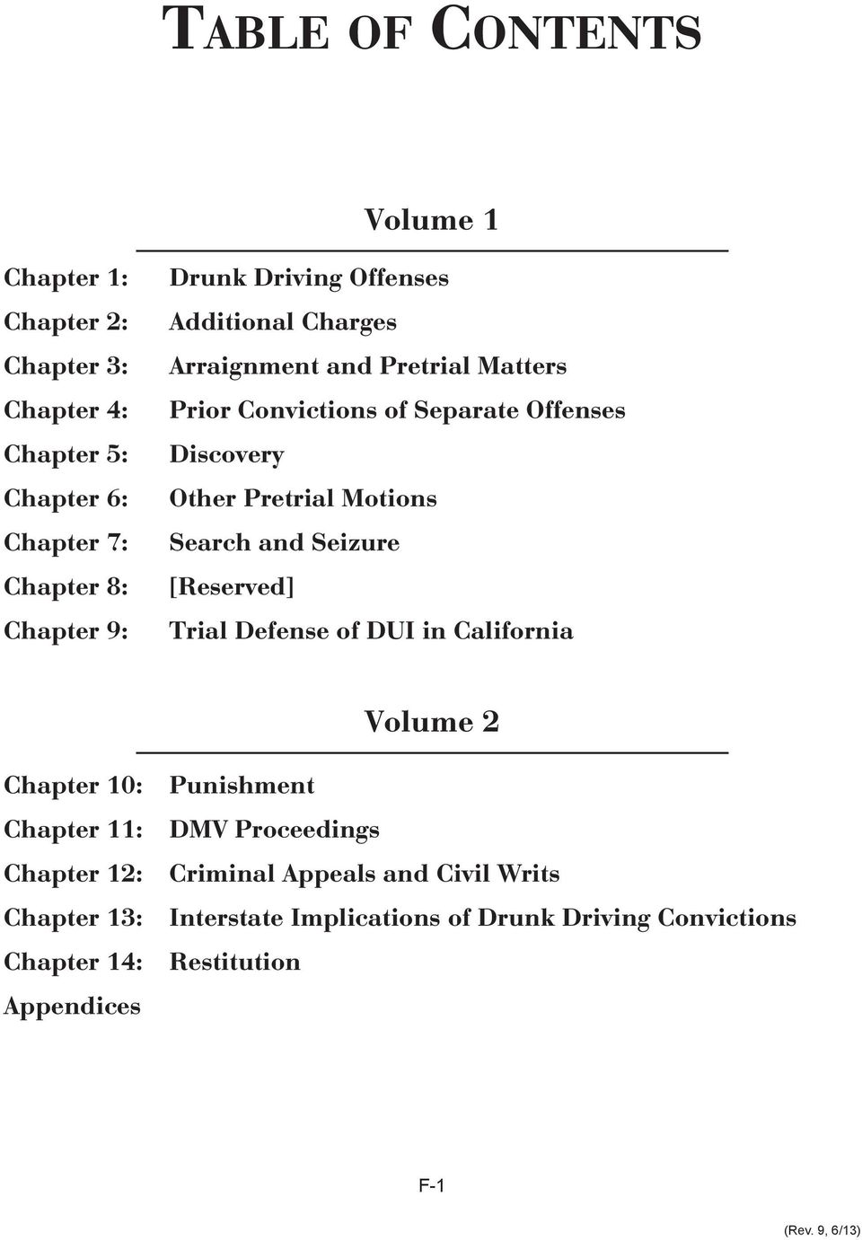 and Seizure [Reserved] Trial Defense of DUI in California Volume 2 Chapter 10: Chapter 11: Chapter 12: Chapter 13: Chapter 14: Appendices