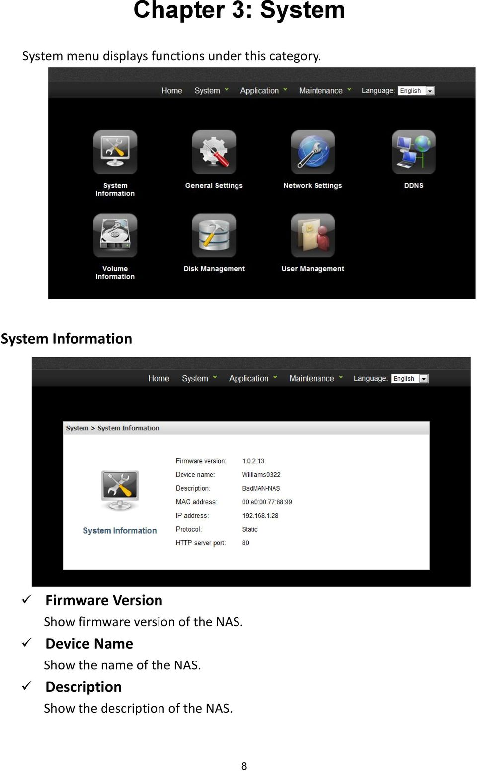 System Information Firmware Version Show firmware