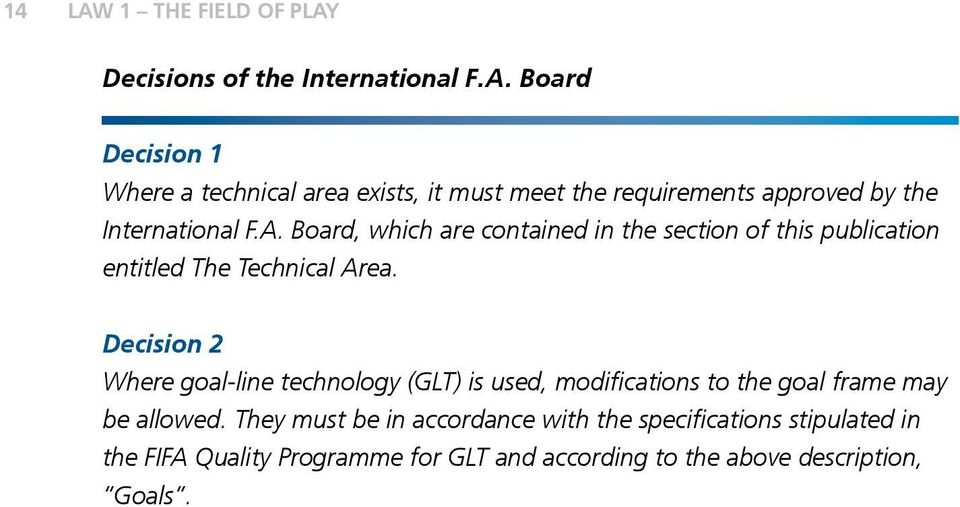 Decision 2 Where goal-line technology (GLT) is used, modifications to the goal frame may be allowed.