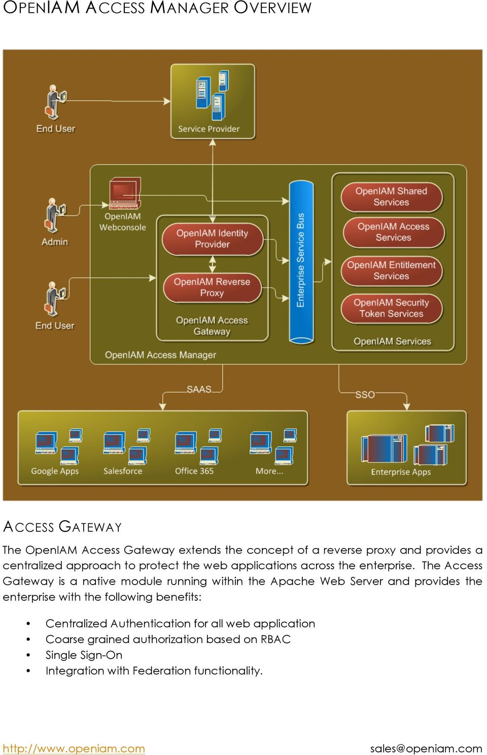 The Access Gateway is a native module running within the Apache Web Server and provides the enterprise with the following