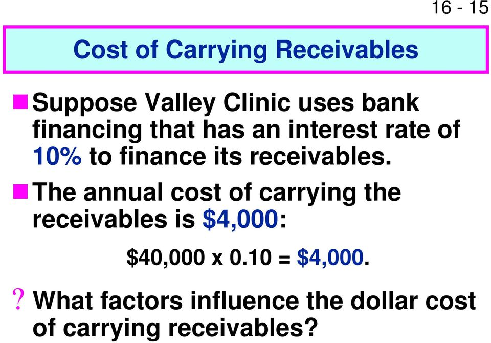 The annual cost of carrying the receivables is $4,000: $40,000 x 0.