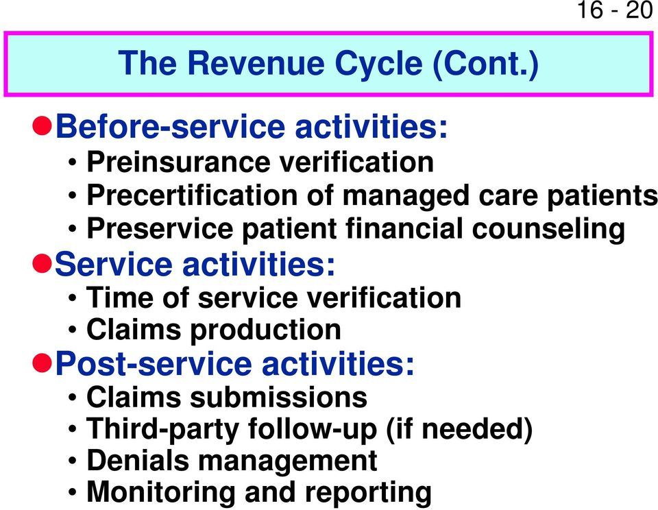 patients Preservice patient financial counseling Service activities: Time of service
