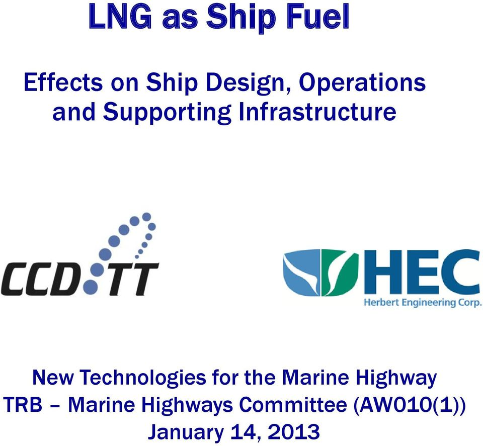 Technologies for the Marine Highway TRB