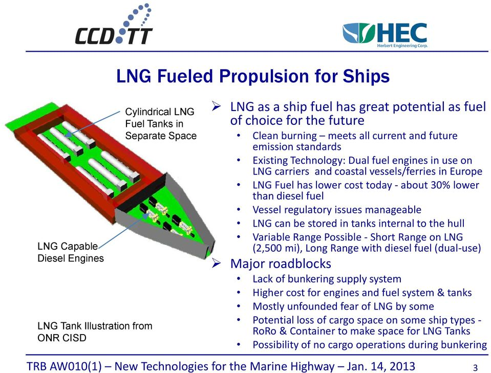 cost today - about 30% lower than diesel fuel Vessel regulatory issues manageable LNG can be stored in tanks internal to the hull Variable Range Possible - Short Range on LNG (2,500 mi), Long Range