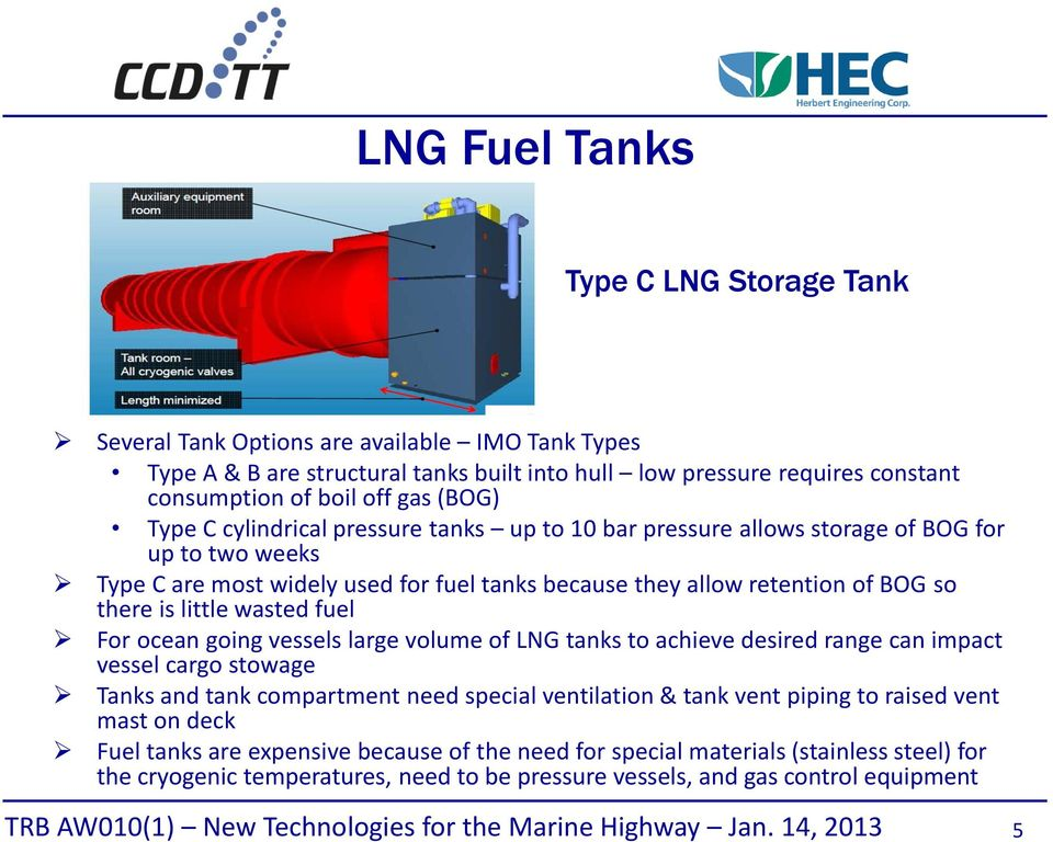 little wasted fuel For ocean going vessels large volume of LNG tanks to achieve desired range can impact vessel cargo stowage Tanks and tank compartment need special ventilation & tank vent piping