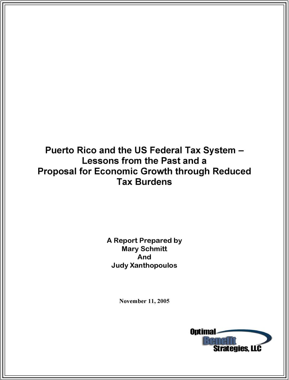 through Reduced Tax Burdens A Report Prepared by