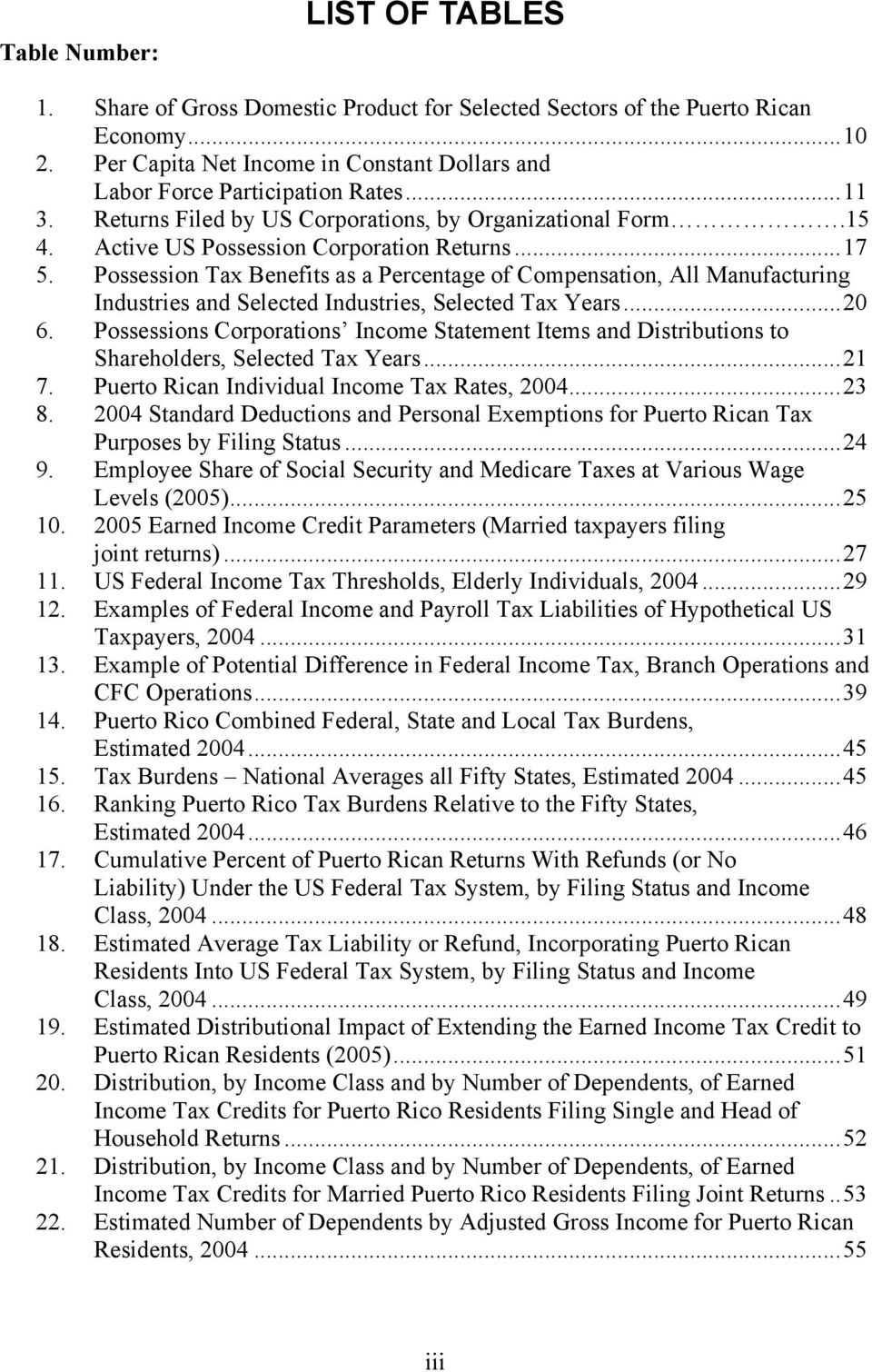 Possession Tax Benefits as a Percentage of Compensation, All Manufacturing Industries and Selected Industries, Selected Tax Years...20 6.