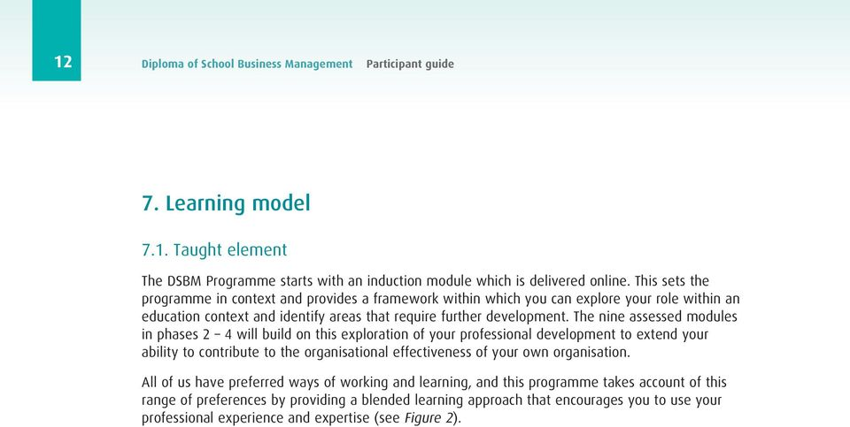 The nine assessed modules in phases 2 4 will build on this exploration of your professional development to extend your ability to contribute to the organisational effectiveness of your own