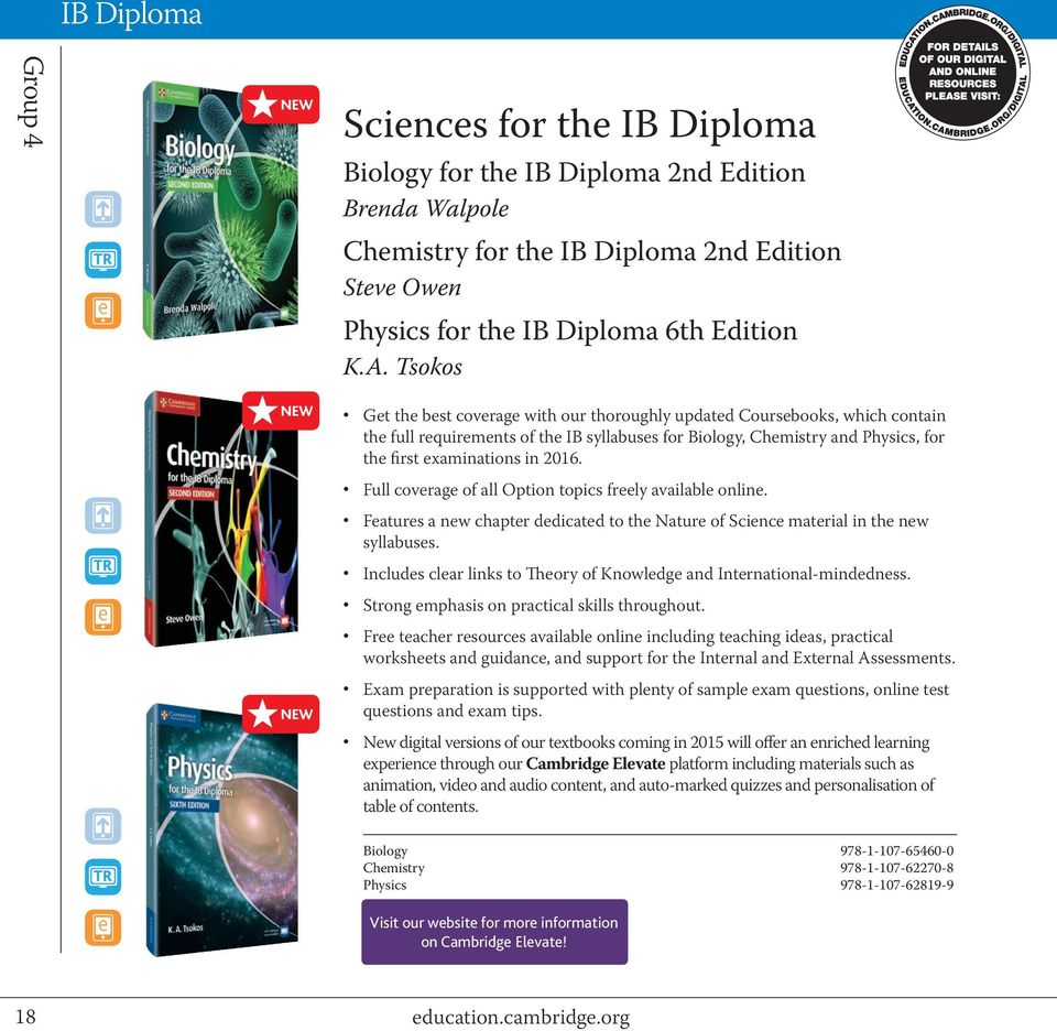 in 2016. Full coverage of all Option topics freely available online. Features a new chapter dedicated to the Nature of Science material in the new syllabuses.
