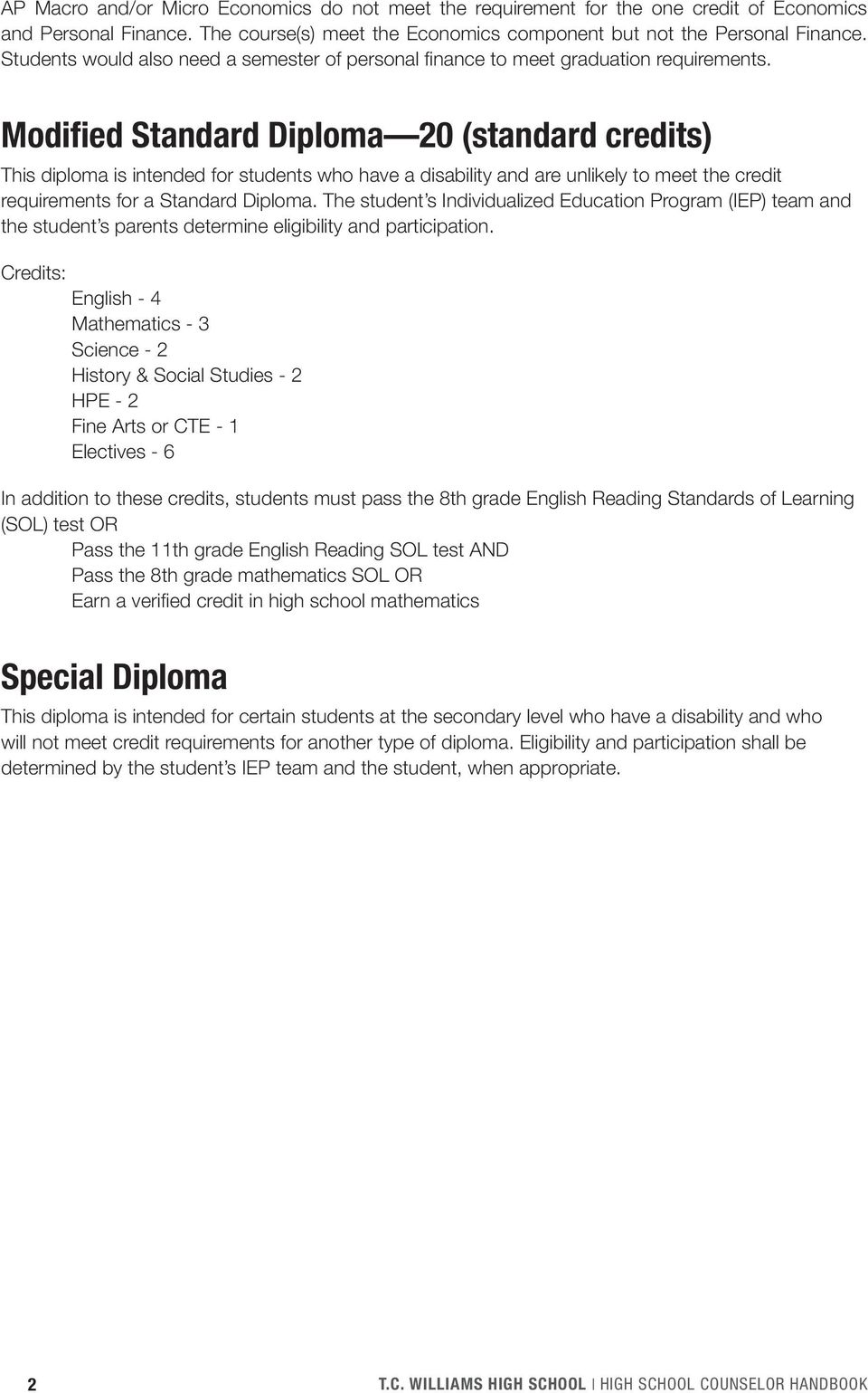 Modified Standard Diploma 20 (standard credits) This diploma is intended for students who have a disability and are unlikely to meet the credit requirements for a Standard Diploma.