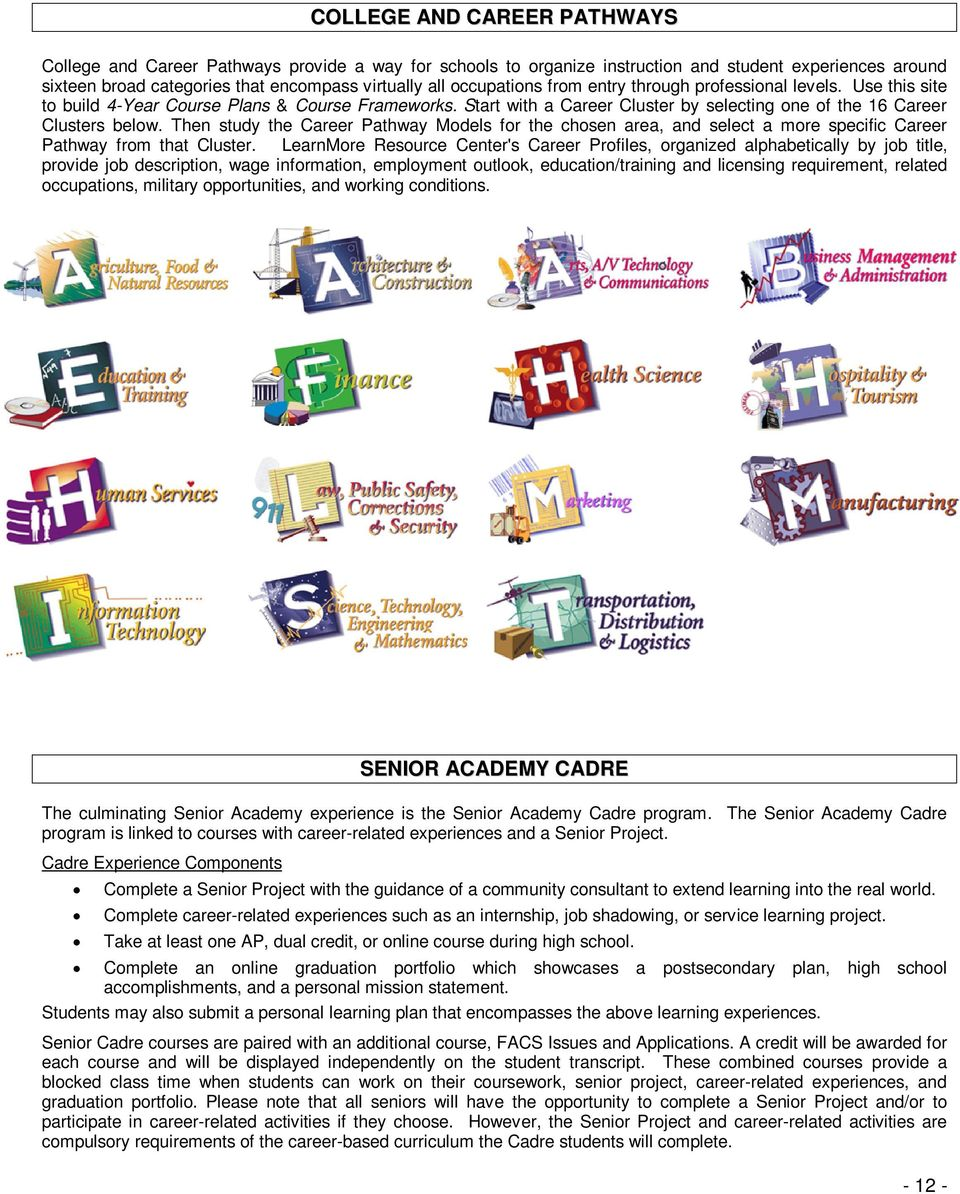 Then study the Career Pathway Models for the chosen area, and select a more specific Career Pathway from that Cluster.
