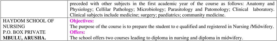 Microbiology; Parasitology and Patomology; Clinical laboratory.