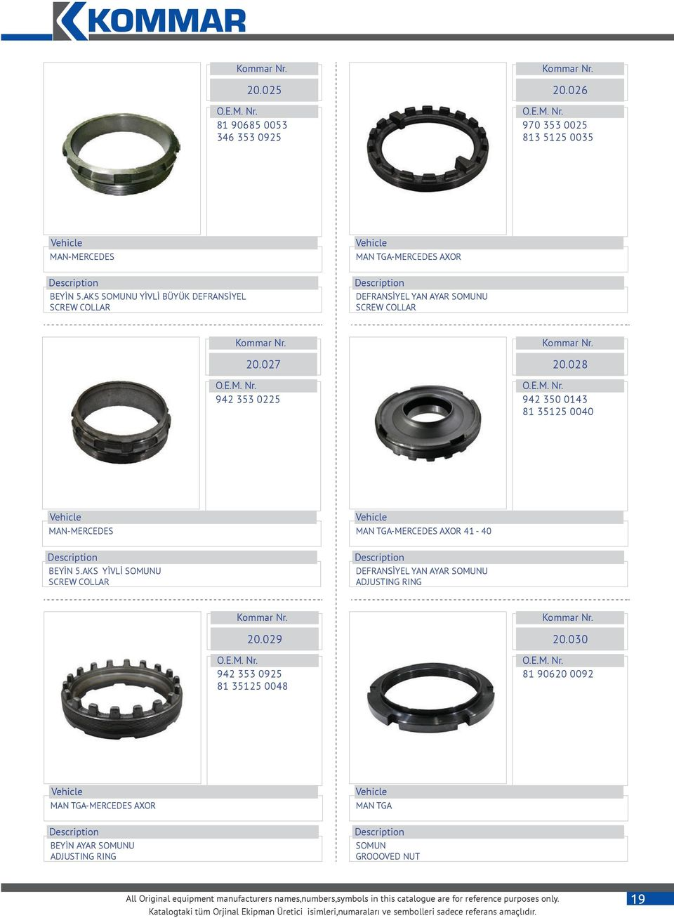 028 942 350 0143 81 35125 0040 MAN-MERCEDES BEYİN 5.AKS YİVLİ SOMUNU SCREW COLLAR MAN TGA-MERCEDES AXOR 41-40 DEFRANSİYEL YAN AYAR SOMUNU ADJUSTING RING 20.
