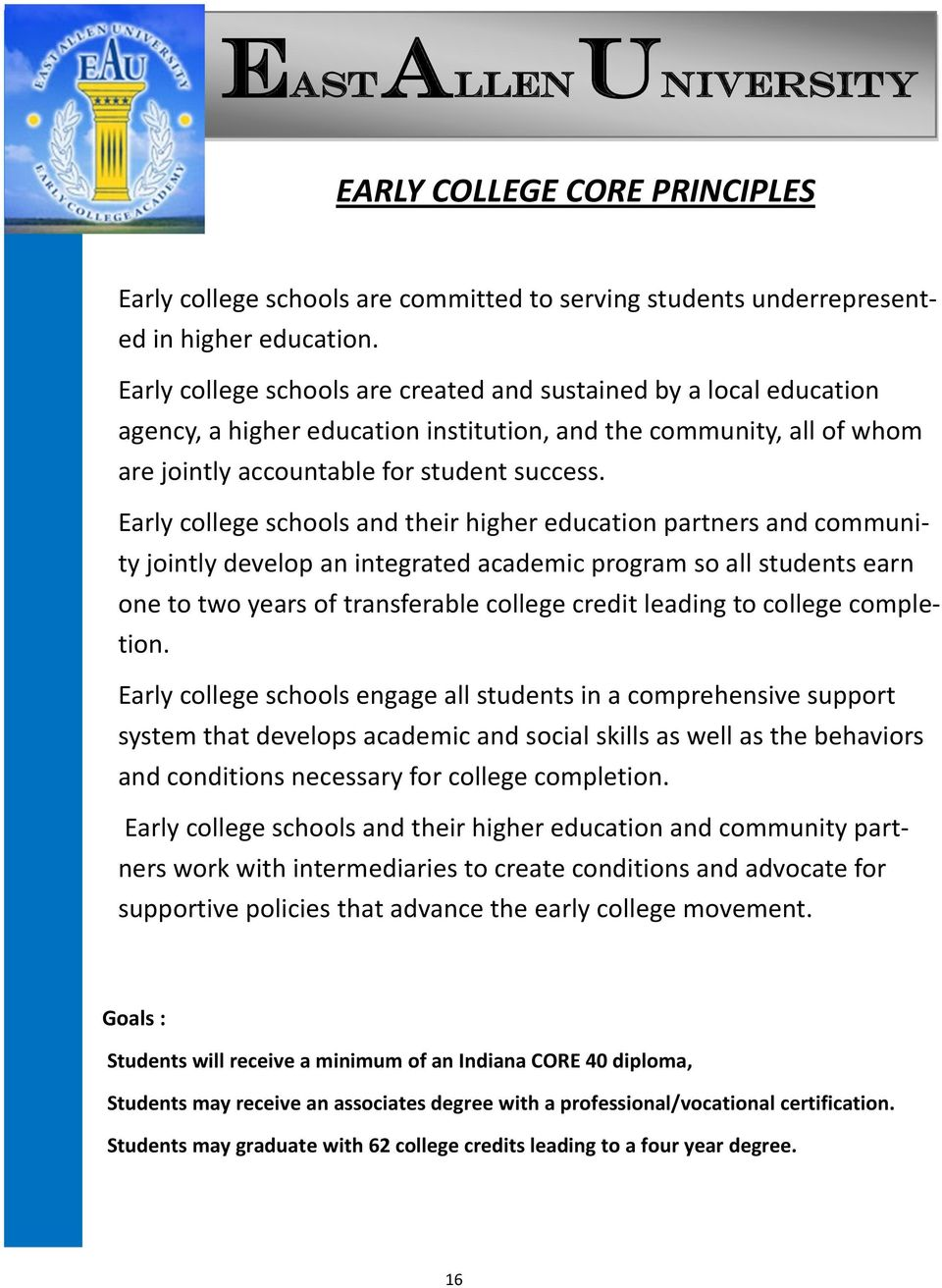 Early college schools and their higher education partners and community jointly develop an integrated academic program so all students earn one to two years of transferable college credit leading to