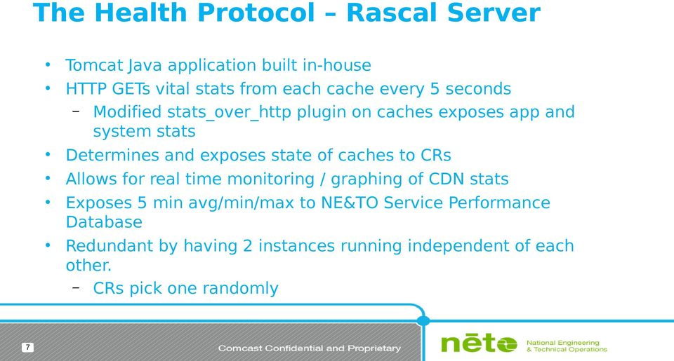state of caches to CRs Allows for real time monitoring / graphing of CDN stats Exposes 5 min avg/min/max to NE&TO