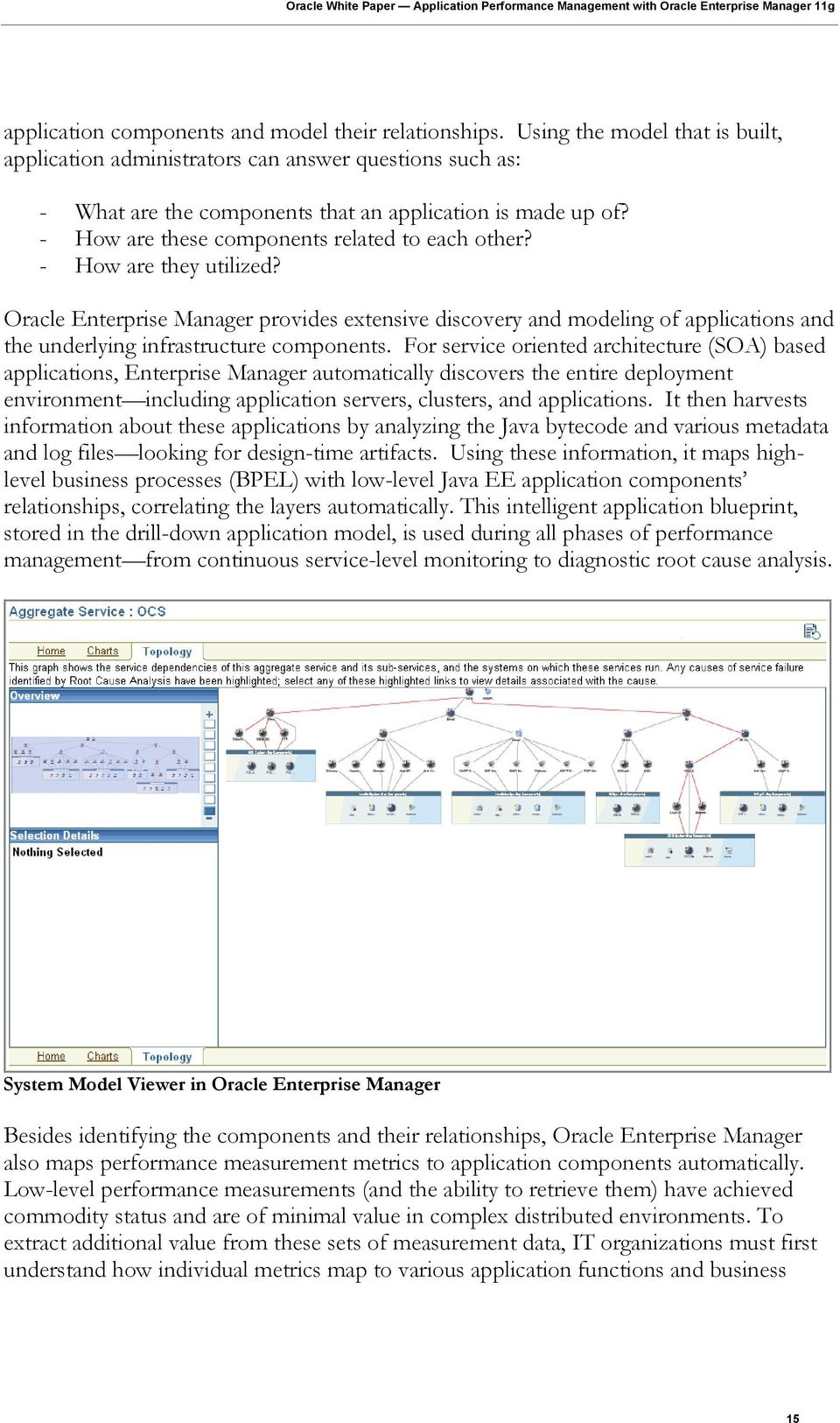 - How are they utilized? Oracle Enterprise Manager provides extensive discovery and modeling of applications and the underlying infrastructure components.