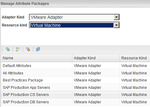 T clne the All Attributes package 1 Lg in t vcenter Operatins Manager Enterprise as an administratr. 2 Select Envirnment > Cnfiguratin > Attribute Packages.