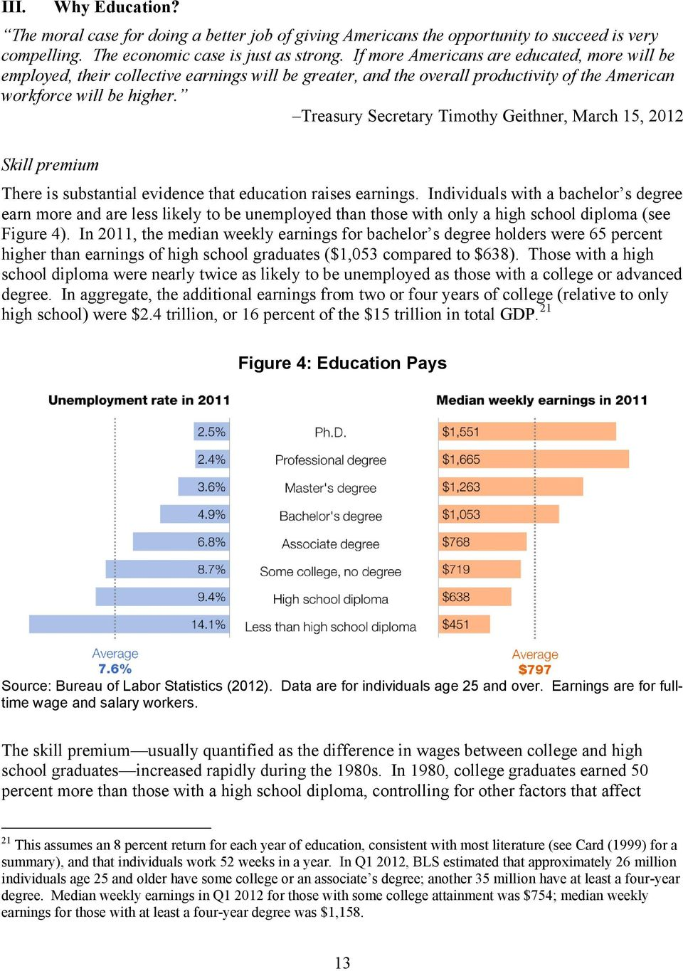 Treasury Secretary Timothy Geithner, March 15, 2012 Skill premium There is substantial evidence that education raises earnings.