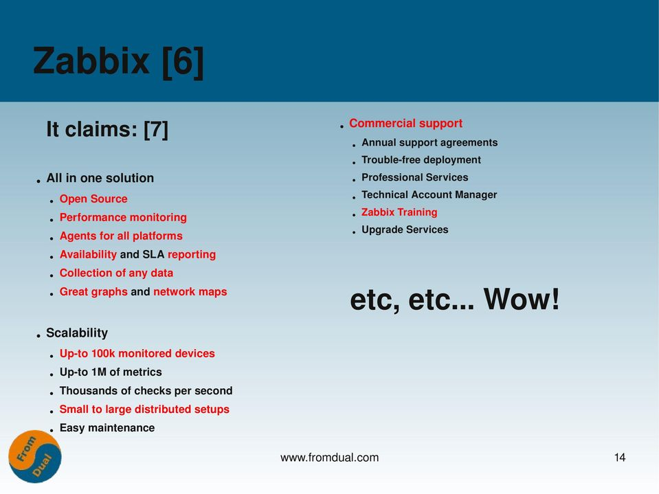deployment Professional Services Technical Account Manager Zabbix Training Upgrade Services etc, etc... Wow!