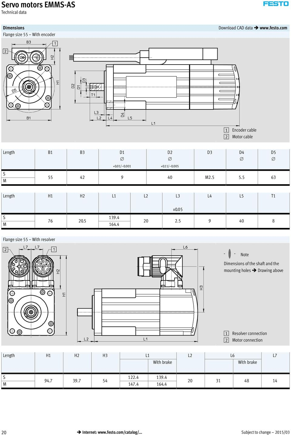 5 9 40 8 Flange size 55 With resolver -H- Note Dimensions of the shaft and the mounting holes Drawing above 1 connection 2 Motor