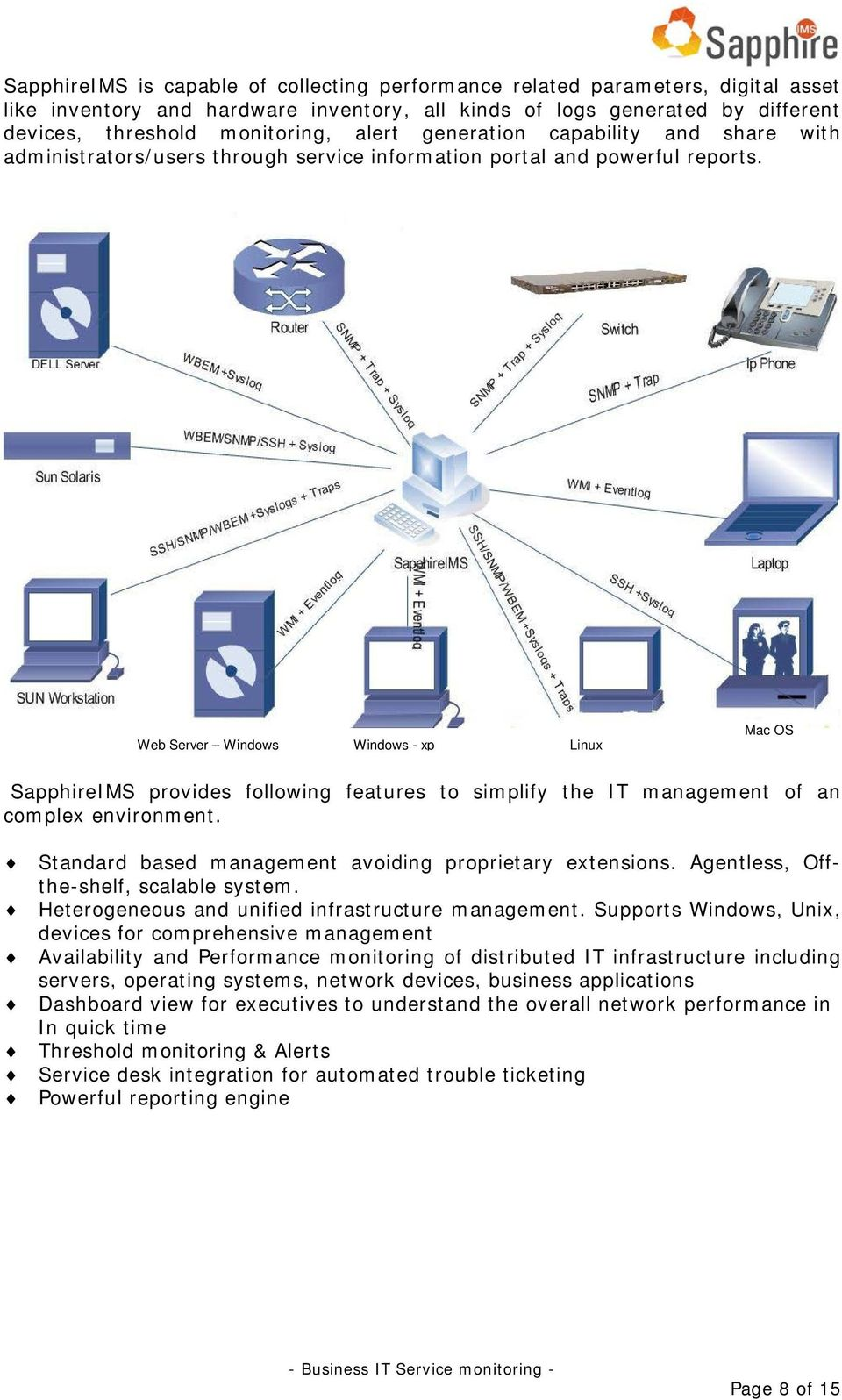 Web Server Windows Windows - xp Linux Mac OS SapphireIMS provides following features to simplify the IT management of an complex environment. Standard based management avoiding proprietary extensions.