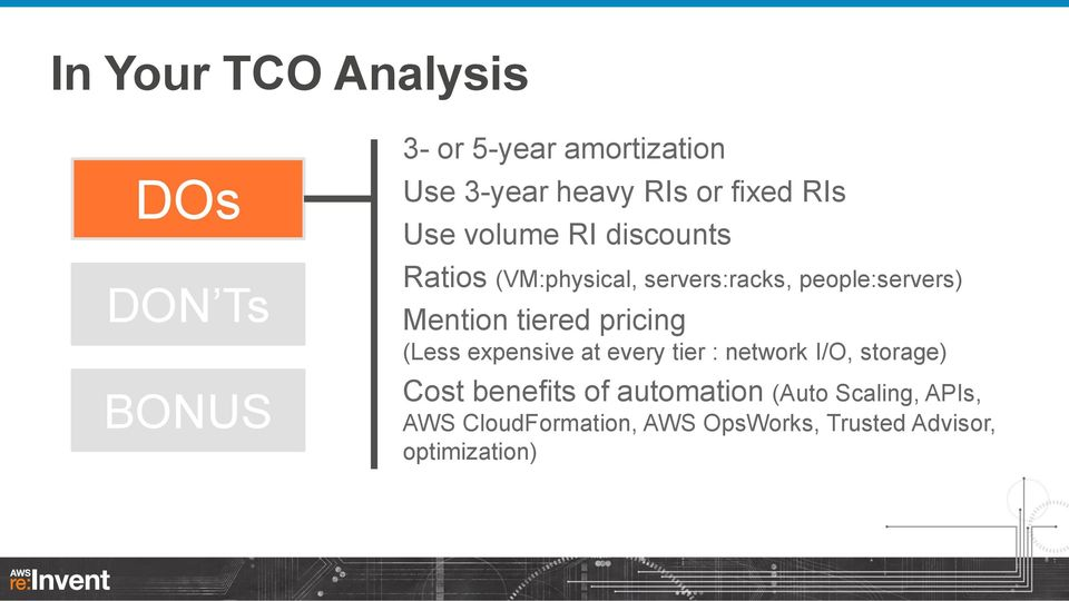 Mention tiered pricing (Less expensive at every tier : network I/O, storage) Cost benefits