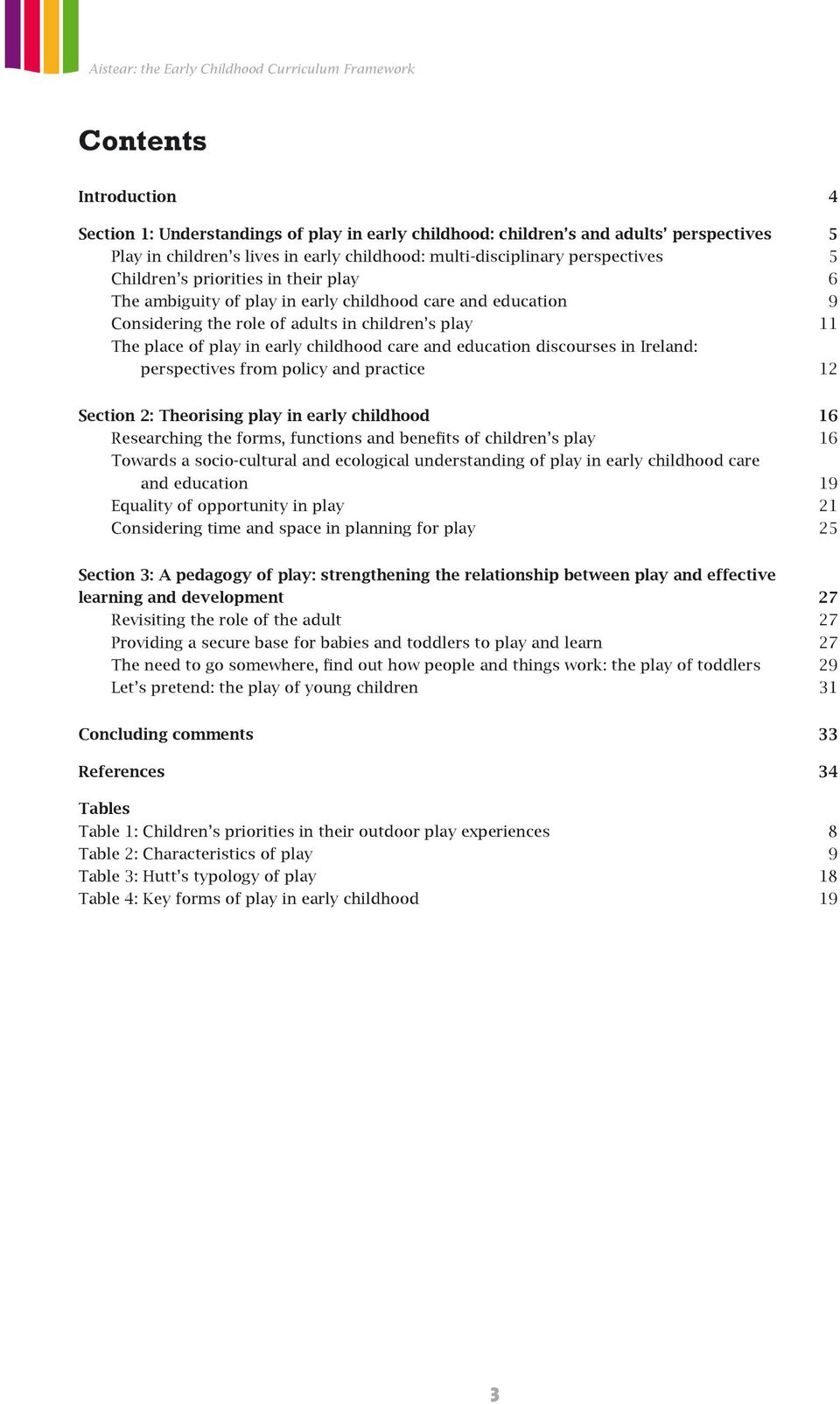 education discourses in Ireland: perspectives from policy and practice 12 Section 2: Theorising play in early childhood 16 Researching the forms, functions and benefits of children s play 16 Towards