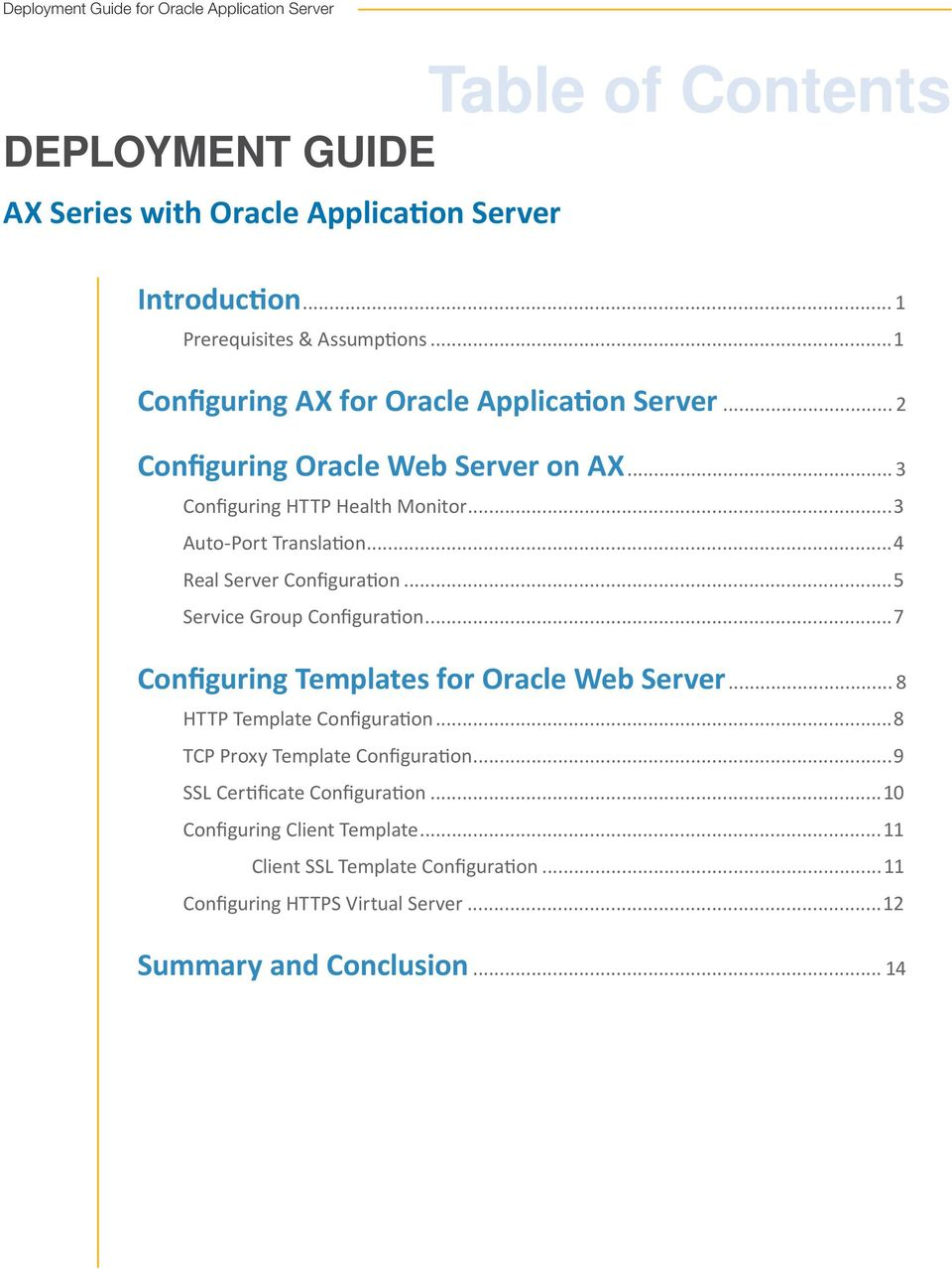 ..4 Real Server Configuration...5 Service Group Configuration...7 Configuring Templates for Oracle Web Server... 8 HTTP Template Configuration.