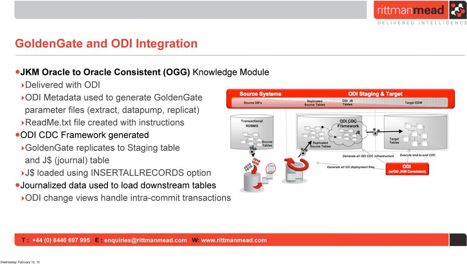 txt file created with instructions ODI CDC Framework generated GoldenGate replicates to Staging table and J$