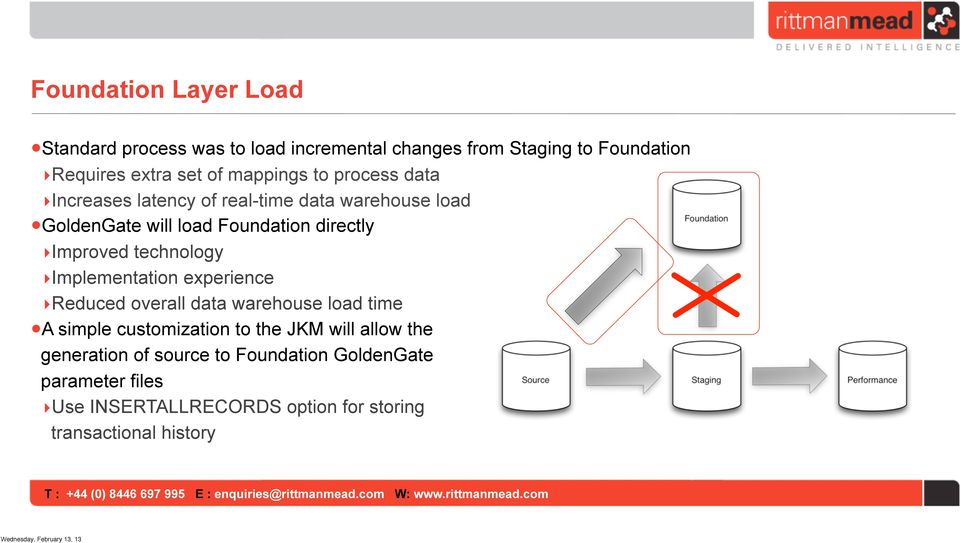 Improved technology Implementation experience Reduced overall data warehouse load time A simple customization to the JKM