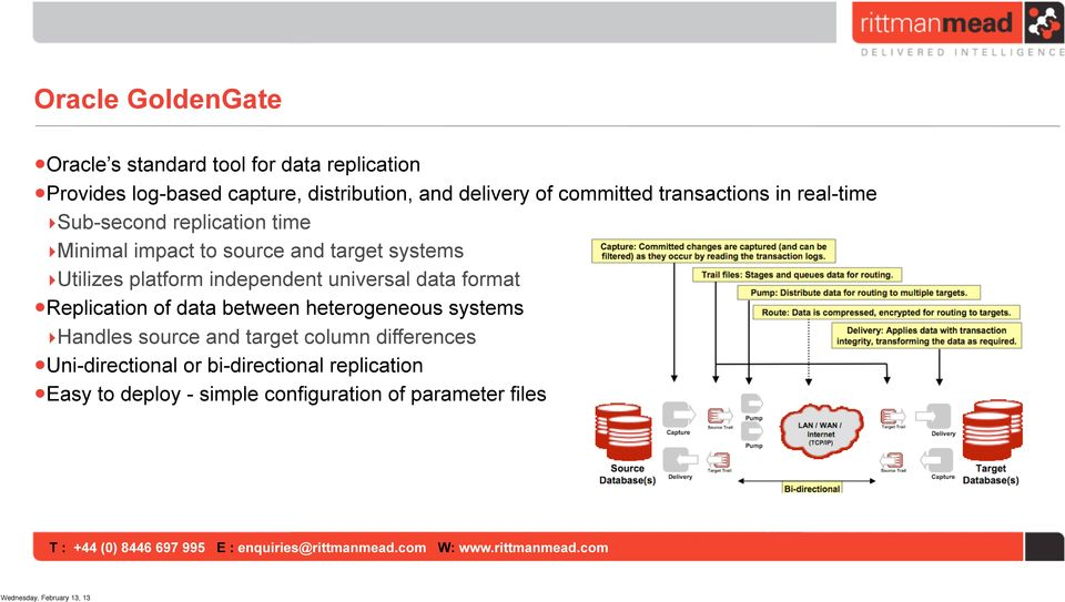 platform independent universal data format Replication of data between heterogeneous systems Handles source and target