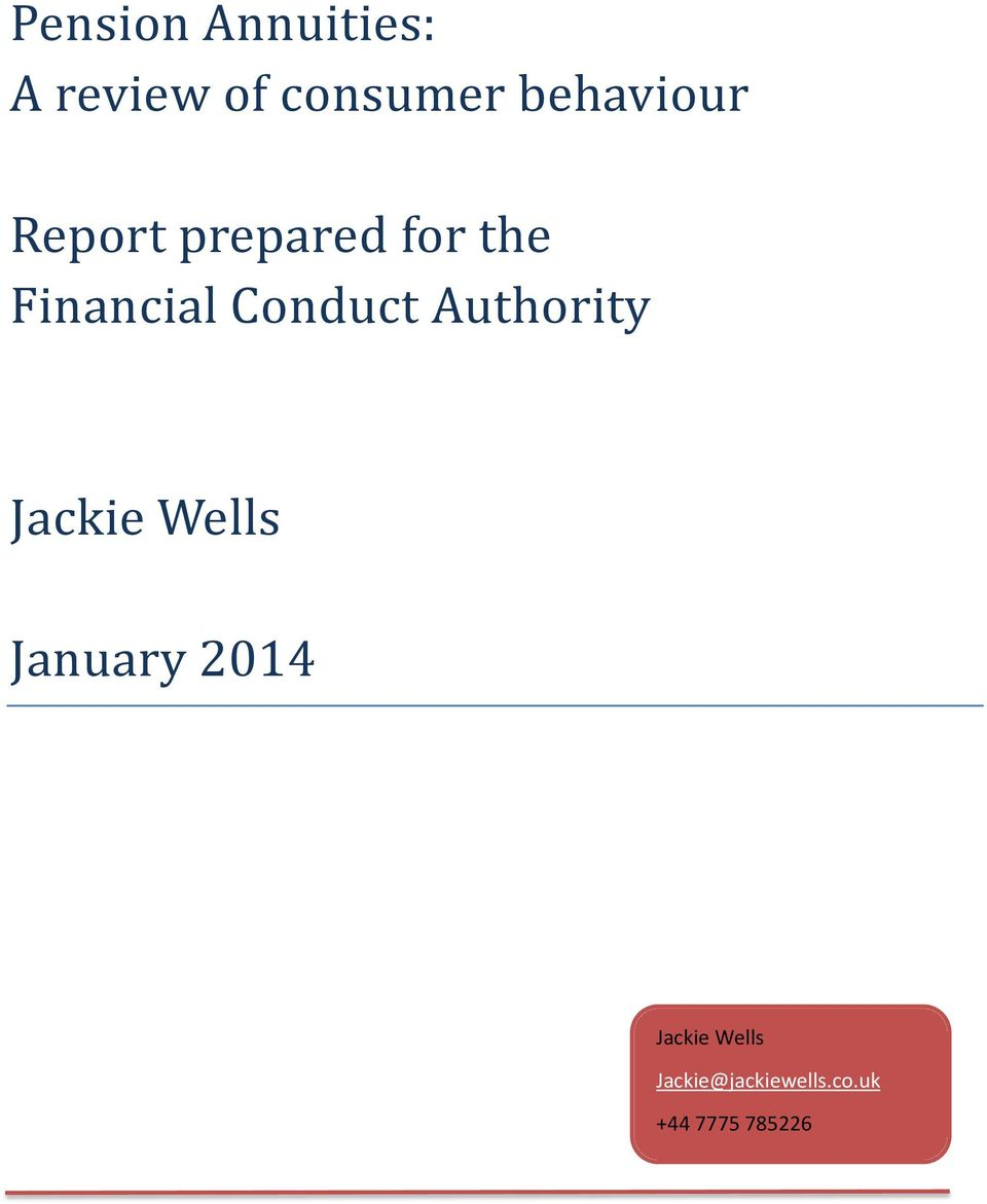 Conduct Authority Jackie Wells January 2014