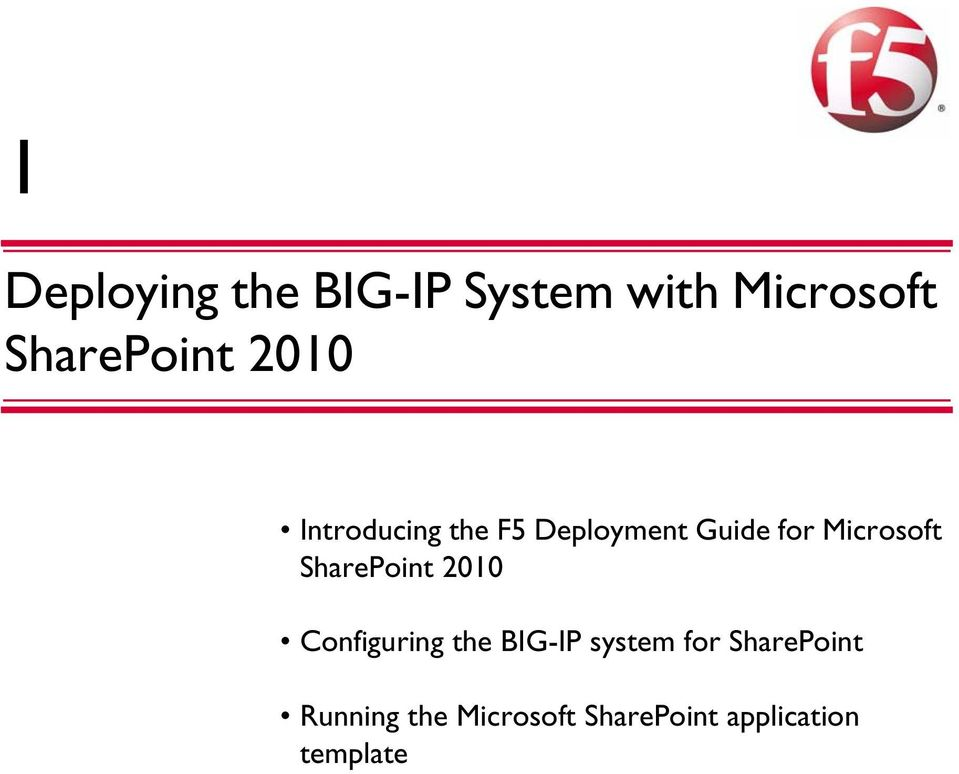 SharePoint 2010 Configuring the BIG-IP system for