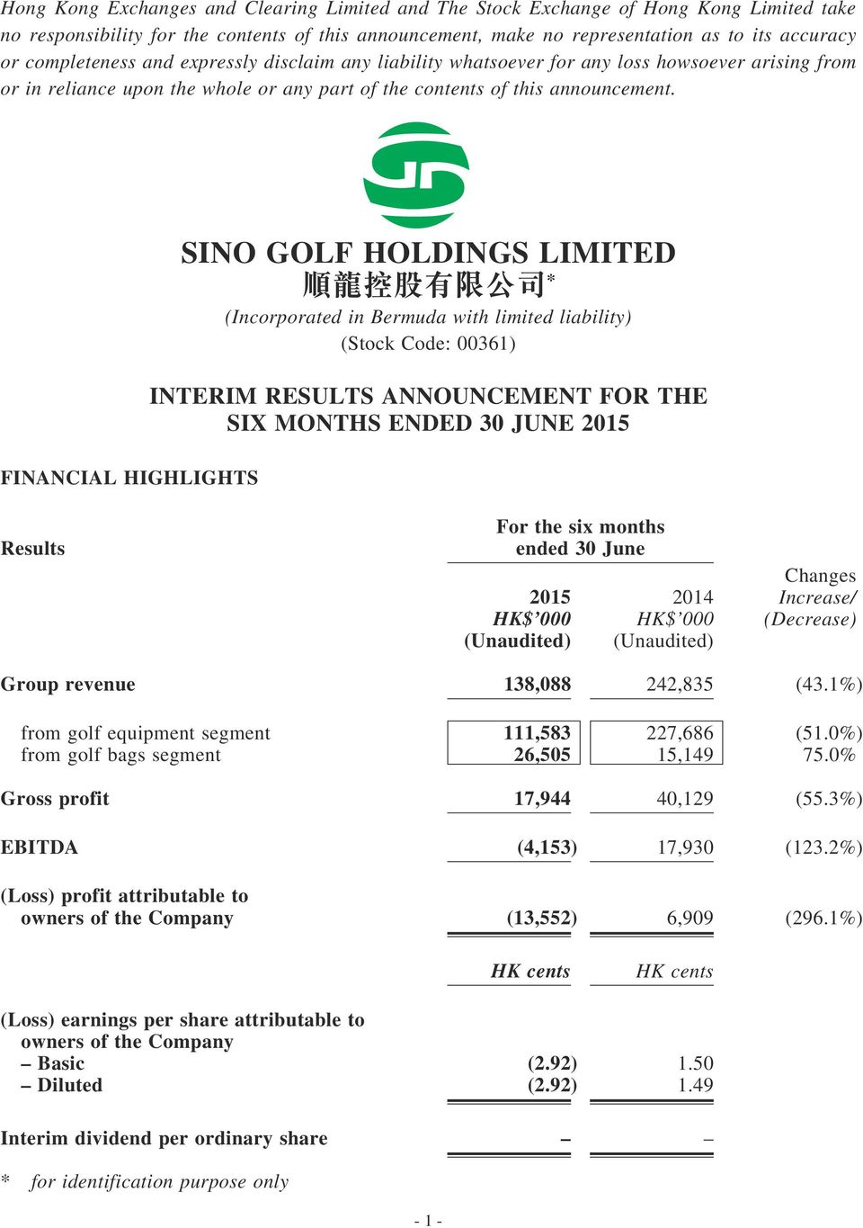 Financial Highlights sino golf HOlDings limited * (Incorporated in Bermuda with limited liability) (Stock Code: 00361) interim REsUlts announcement FOR the six months EnDED 30 JUnE 2015 Results For
